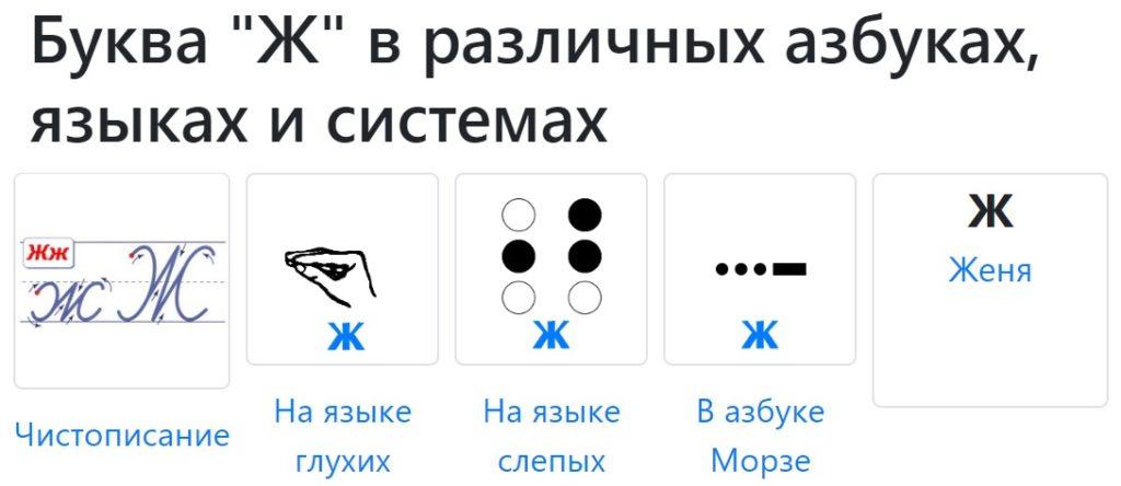 Буква Ж в разных азбуках и системах